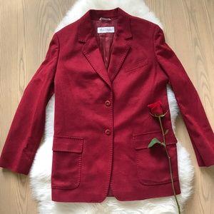 Max Mara Crimson Red Cashmere/Angora blazer jacket